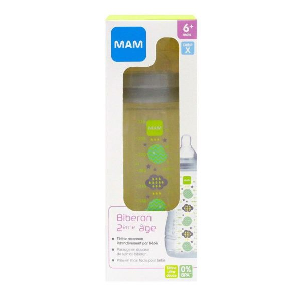 Bib Mam E Active 330ml Gris
